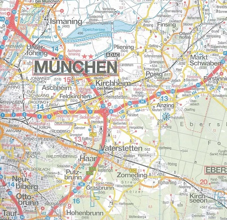 Wegenkaart Landkaart 16 Munchen Oberbayern Beieren Falk
