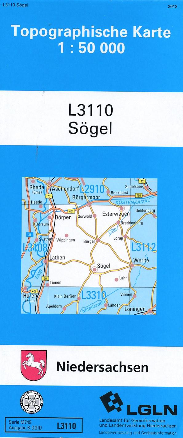 Topografische kaart L3110 Sögel | LGN