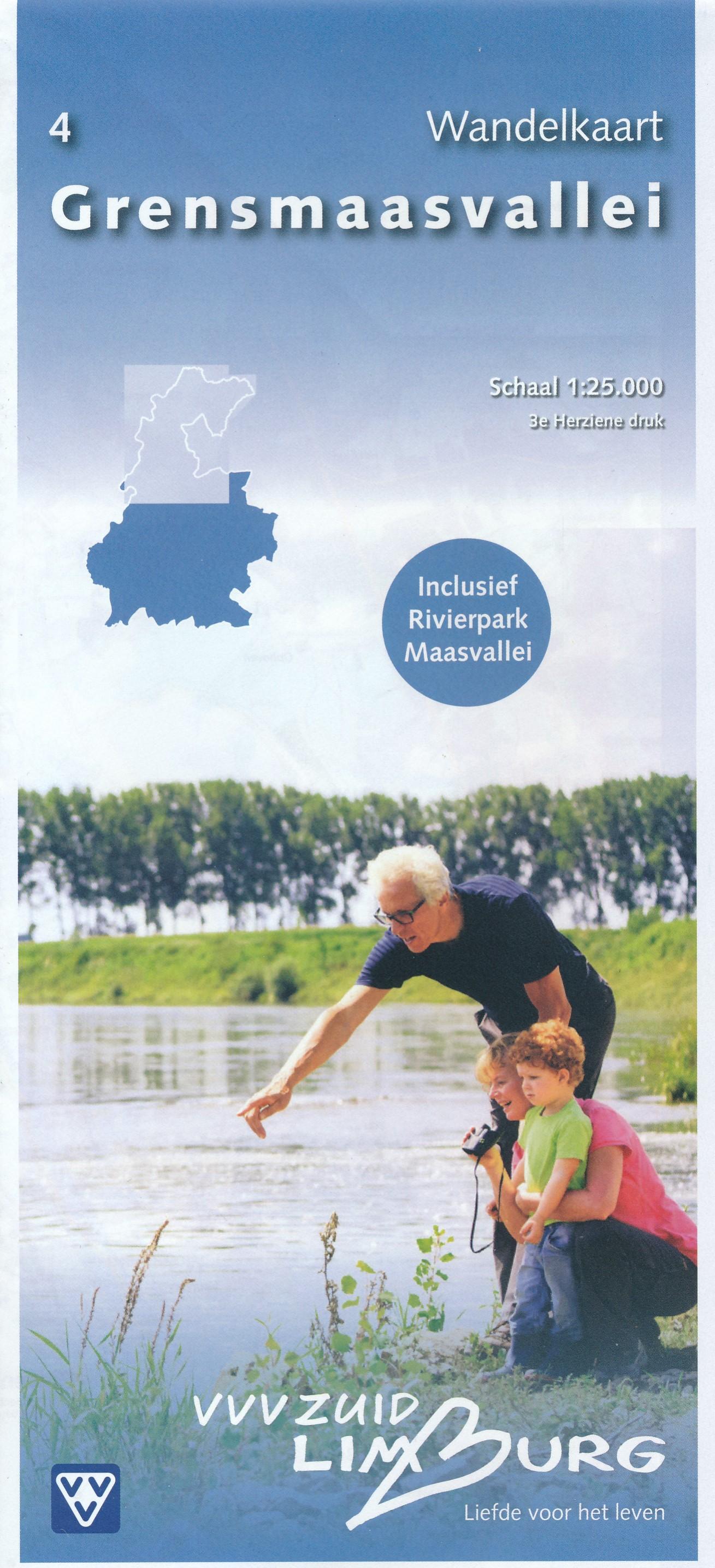 Wandelkaart - Topografische kaart 4 Grensmaasvallei | VVV Zuid Limburg de zwerver