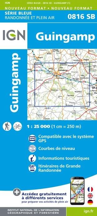 Wandelkaart - Topografische kaart 0816SB Guingamp | IGN