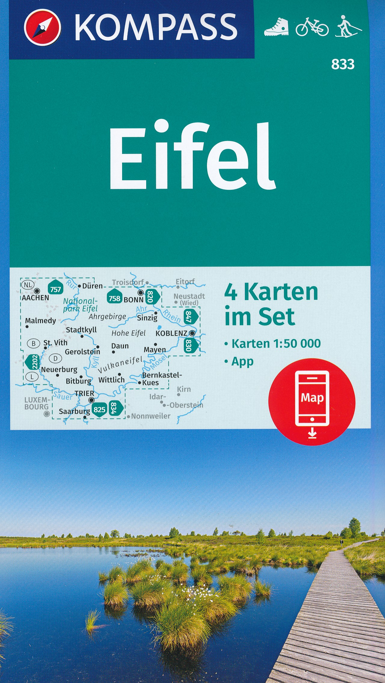 Wandelkaart 833 Eifel | Kompass
