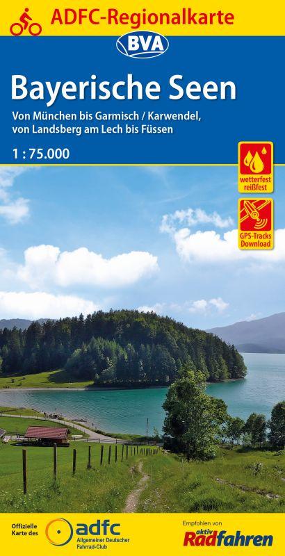 Fietskaart ADFC Regionalkarte Bayerische Seen | BVA