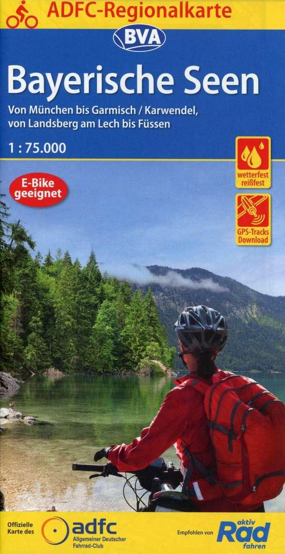 Fietskaart ADFC Regionalkarte Bayerische Seen | BVA de zwerver