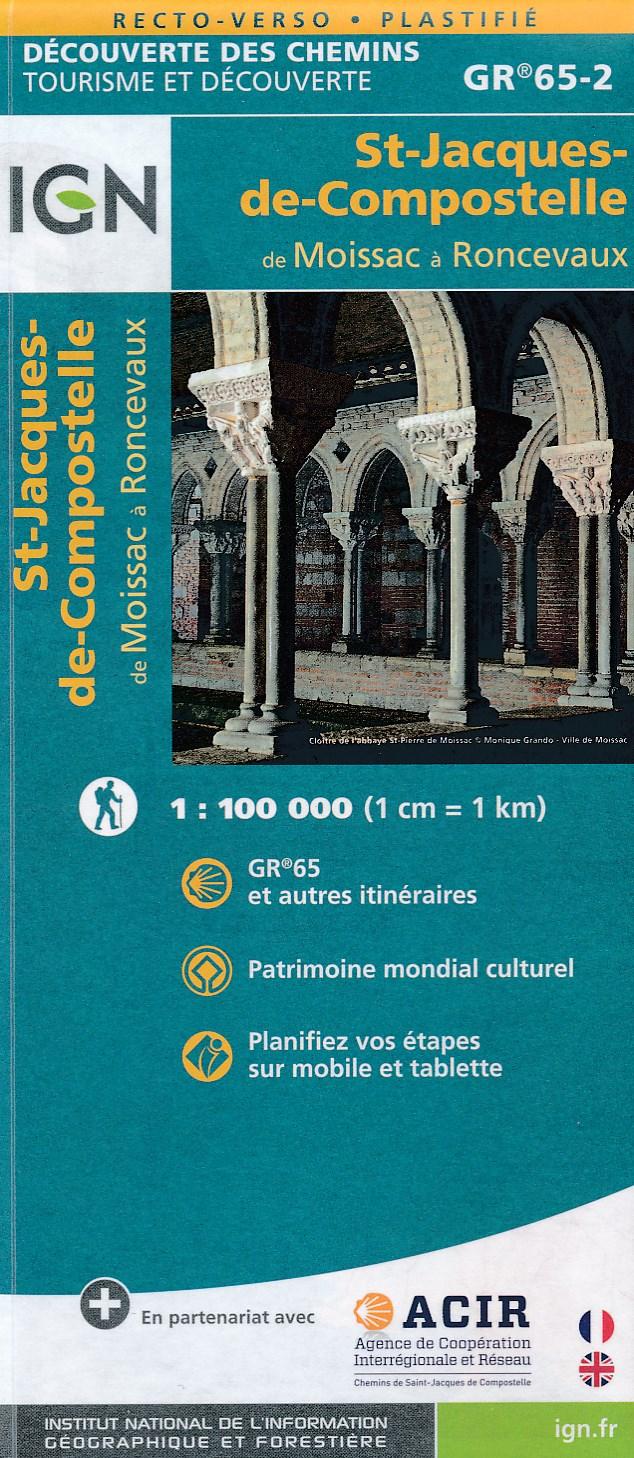 Wandelkaart - Pelgrimsroute (kaart) St-Jacques-de-Compostela GR 65-2, St Jacobsroute | IGN