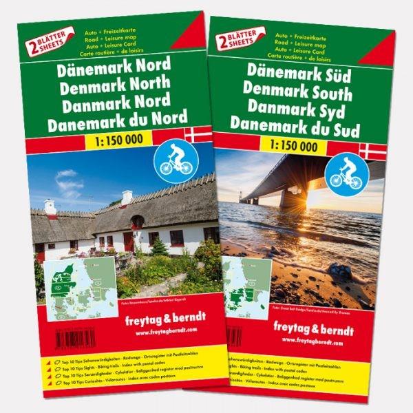 Fietskaart - Wegenkaart - landkaart Denemarken | Freytag & Berndt
