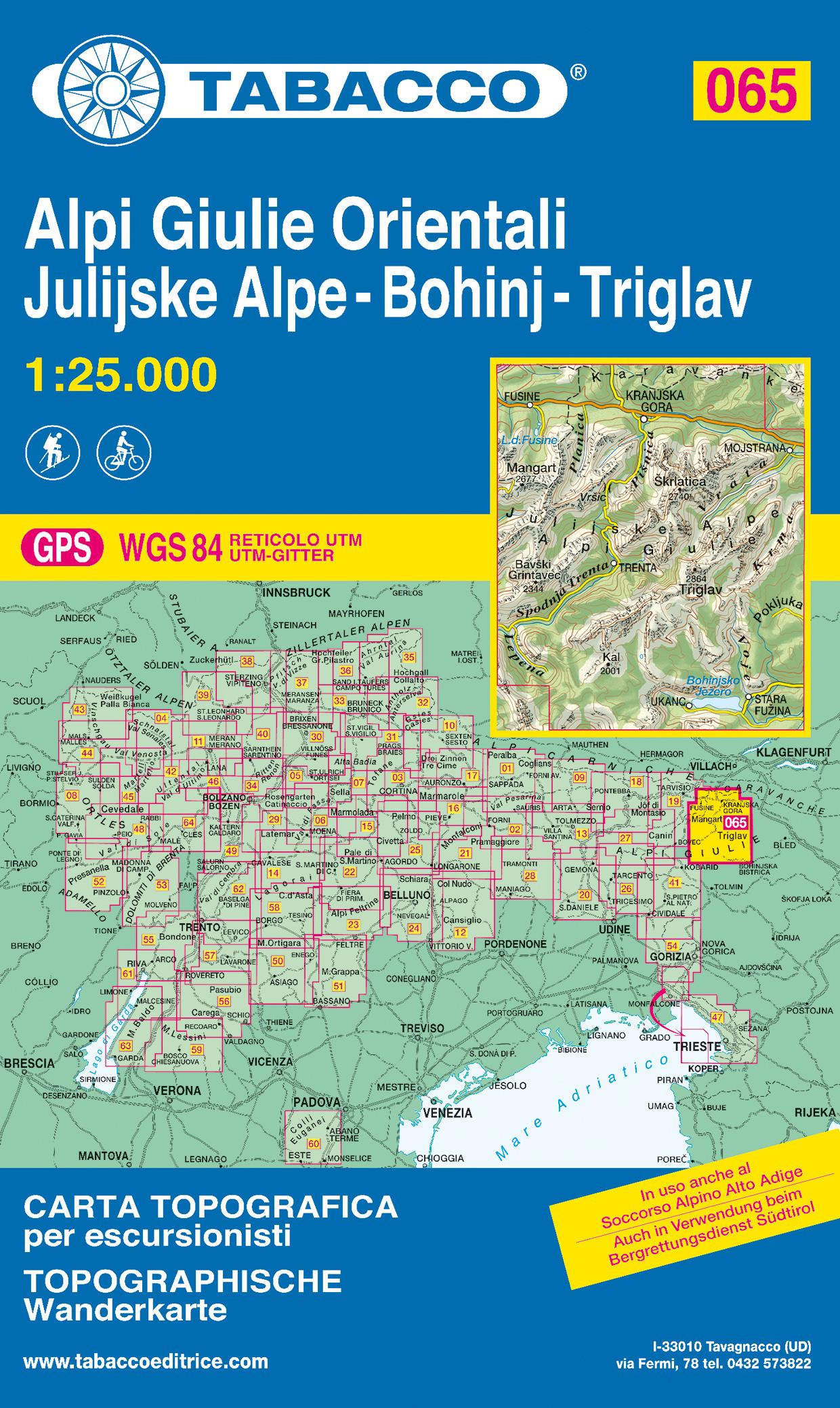 Wandelkaart 065 Alpi Giulie Orientali - Julijske Alpe - Bohinj - Triglav | Tabacco