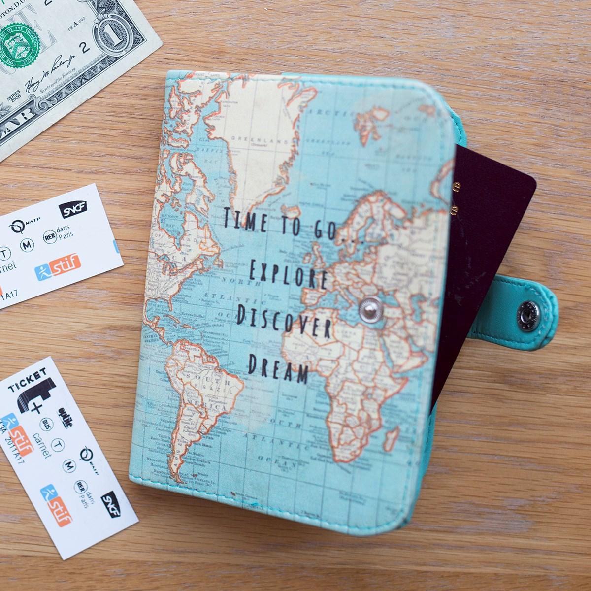 Wereld Kado Paspoorthoesje Met Vintage Wereldkaart