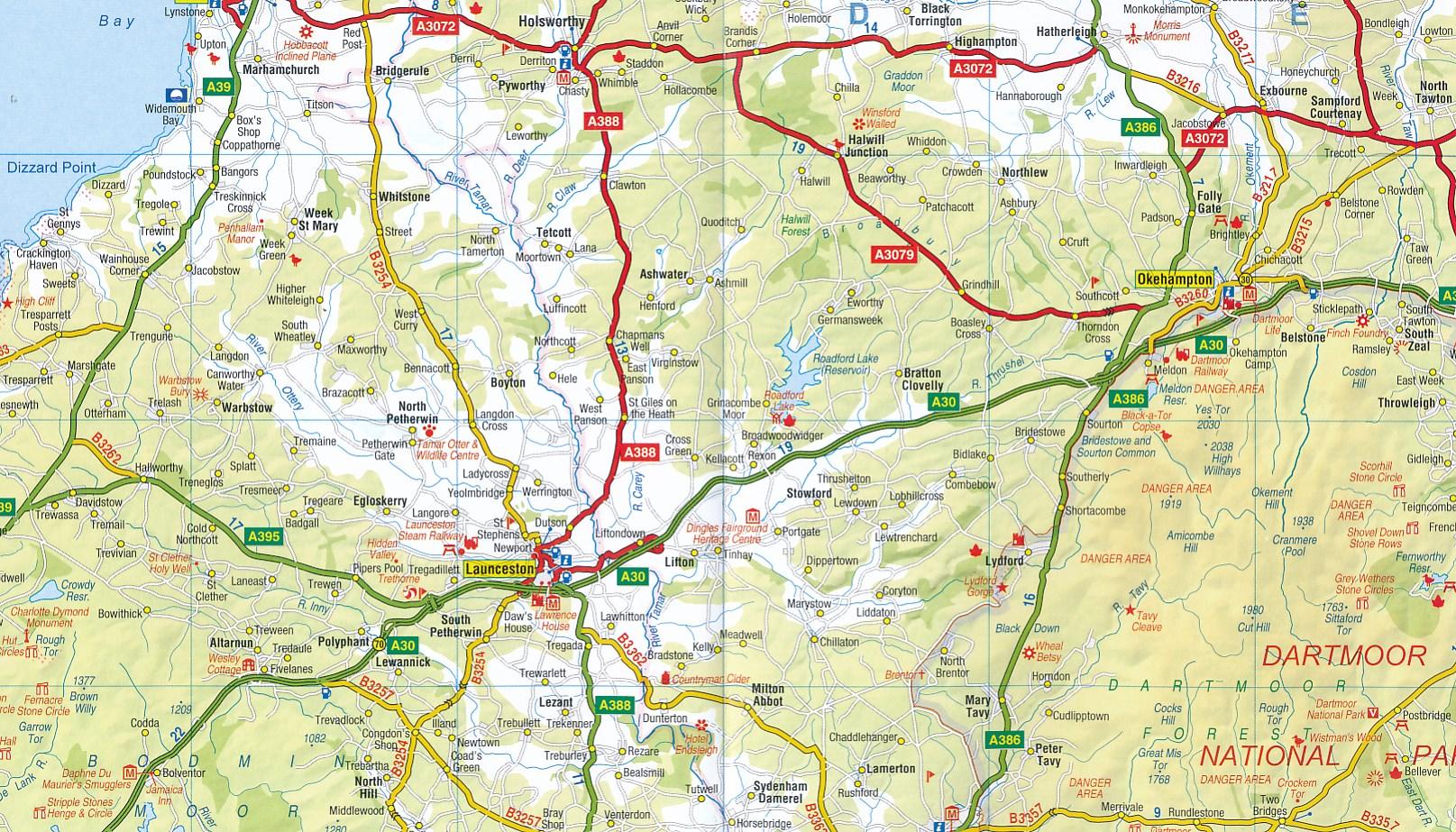 Wegenkaart - landkaart Road Map Devon & Cornwall   A-Z Map Company