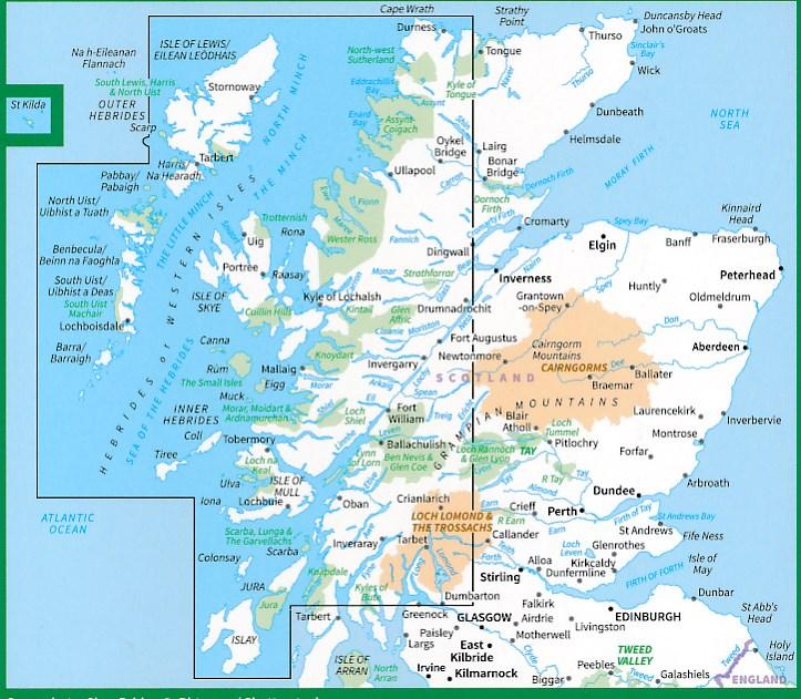 Wegenkaart Landkaart 2 Os Road Map Western Scotland The