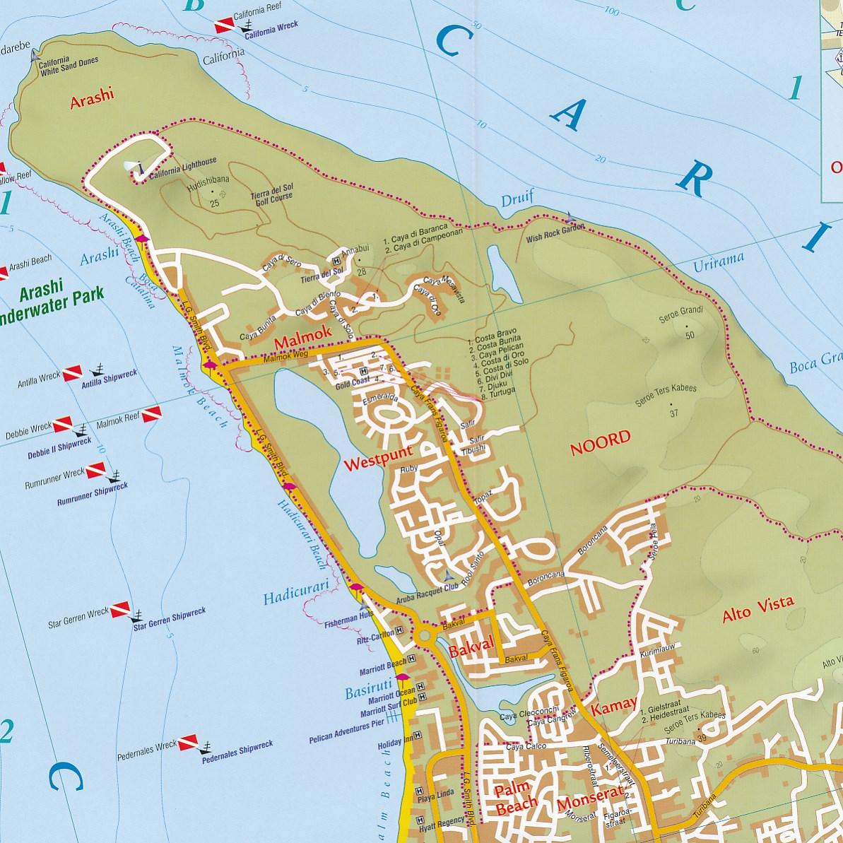Wegenkaart Landkaart Aruba Kasprowski Maps 9791095793014