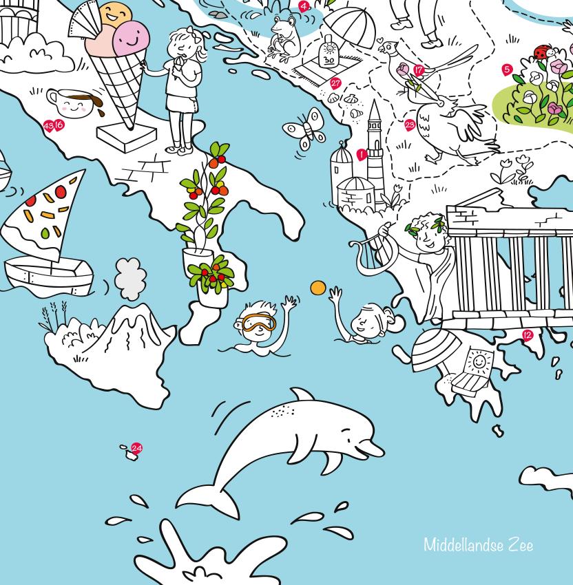 kleurboek europa speel en kleurplaat mappy