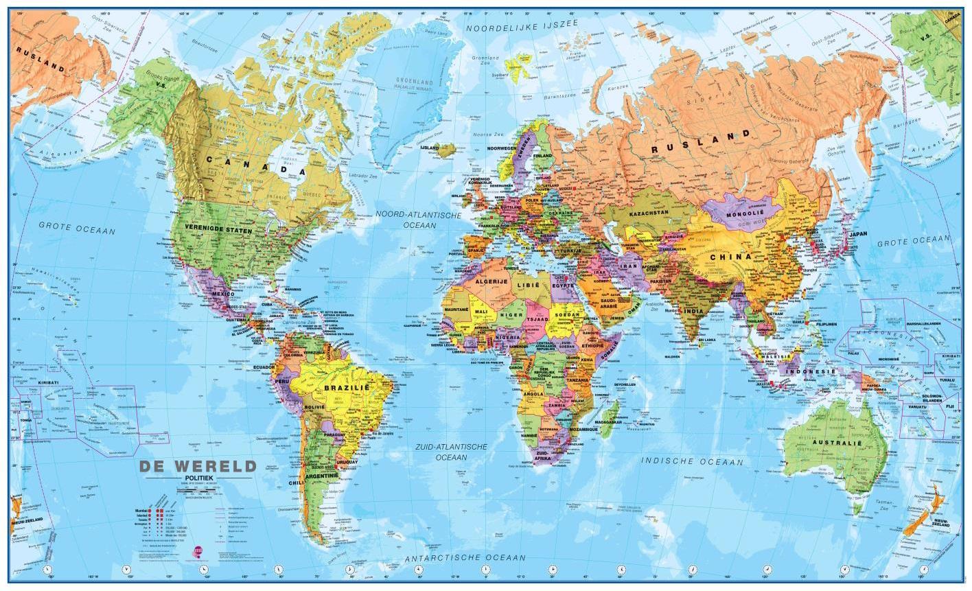 Wereldkaart 66P-zvl Politiek, 136 x 86 cm | Maps International de zwerver
