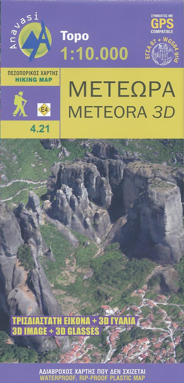 Wandelkaart 4.21 Meteora 3D | Anavasi