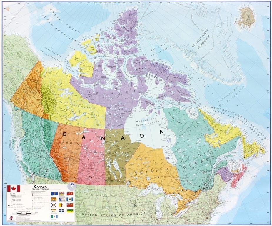 Wandkaart Canada, 120 x 100 cm | Maps International de zwerver