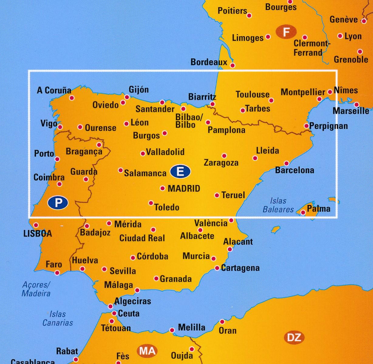 Wegenkaart Landkaart 2 Spanje Noord Anwb Media 9789018042929