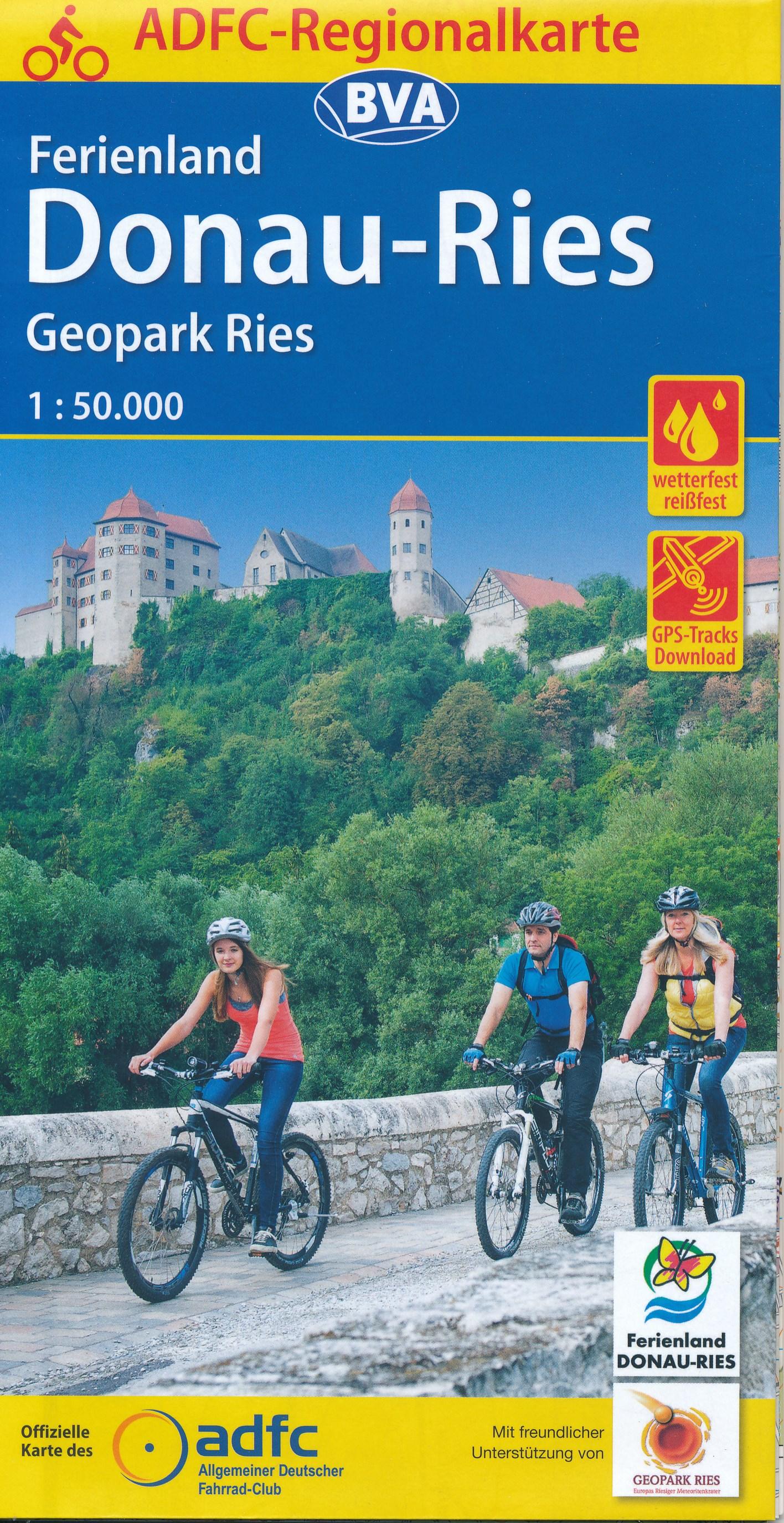 Fietskaart ADFC Regionalkarte Donau - Ries, Geopark Ries | BVA