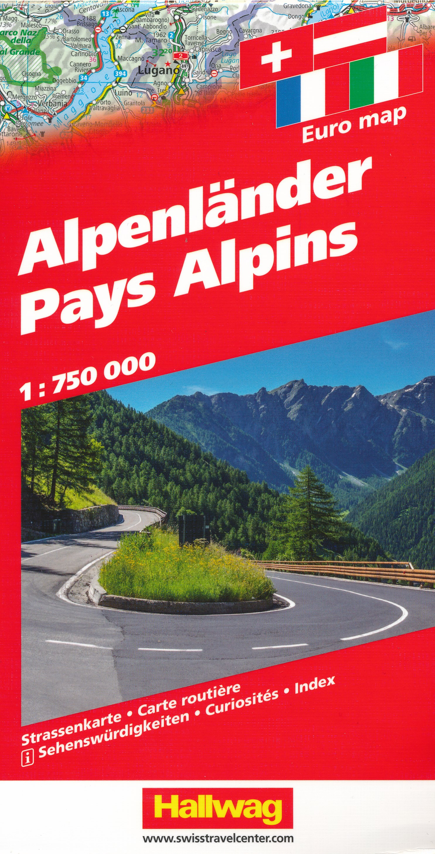 Wegenkaart - landkaart Alpen - Alpenlanden | Hallwag