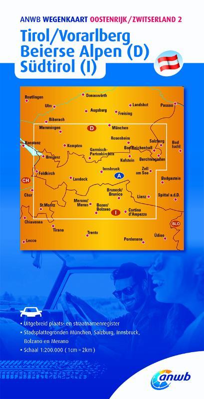 Wegenkaart - landkaart 2 Tirol - Vorarlberg, Südtirol (Ita), Beierse Alpen(Dui) | ANWB Media