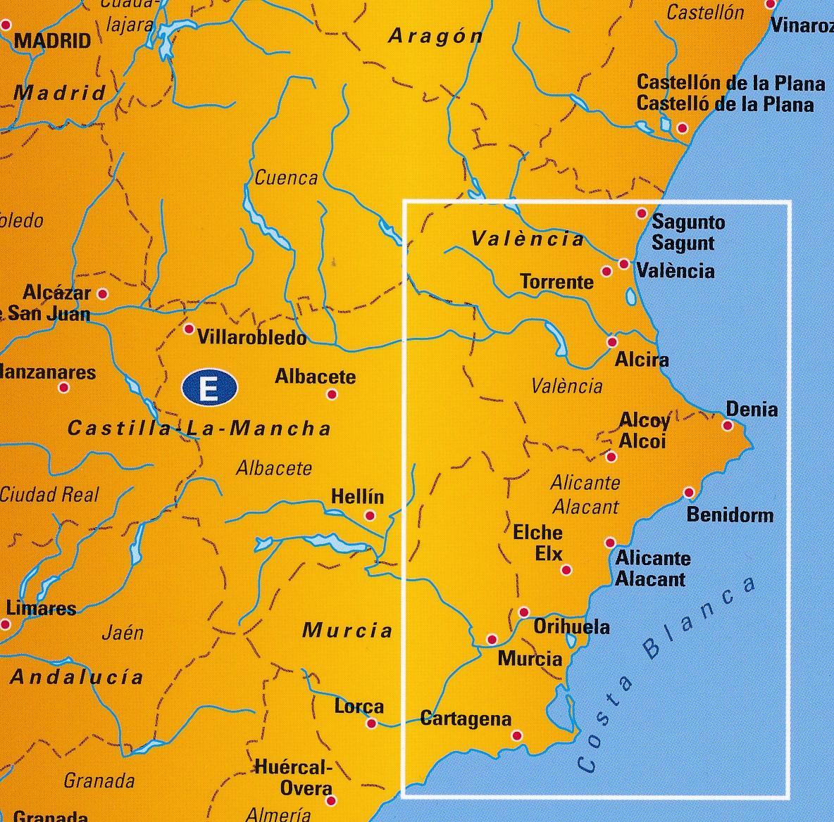 Wegenkaart Landkaart 5 Costa Blanca Anwb Media 9789018042950