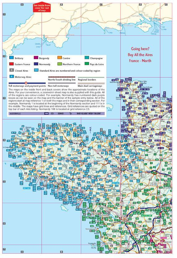 Motorway Map Of France.Campergids All The Aires France South Vicarious Books