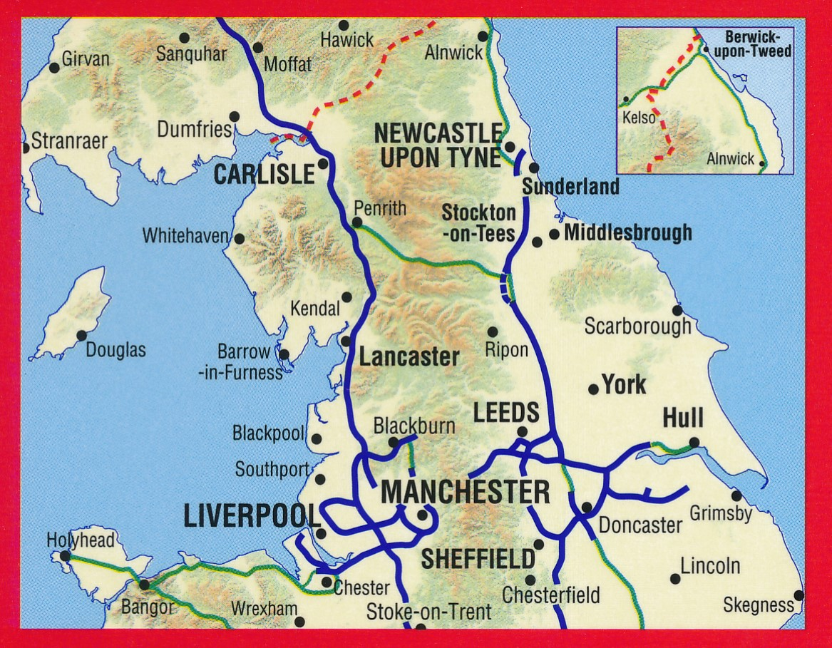 Map Of Northern England.Wegenkaart Landkaart Road Map Northern England Noord Engeland A Z Map Company