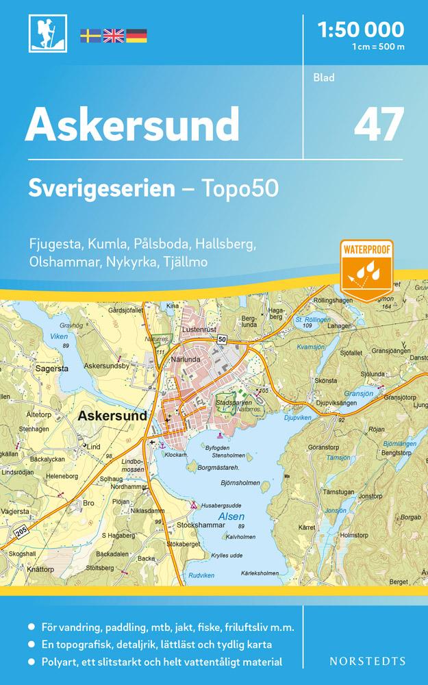 Wandelkaart - Topografische kaart 47 Sverigeserien Askersund | Norstedts