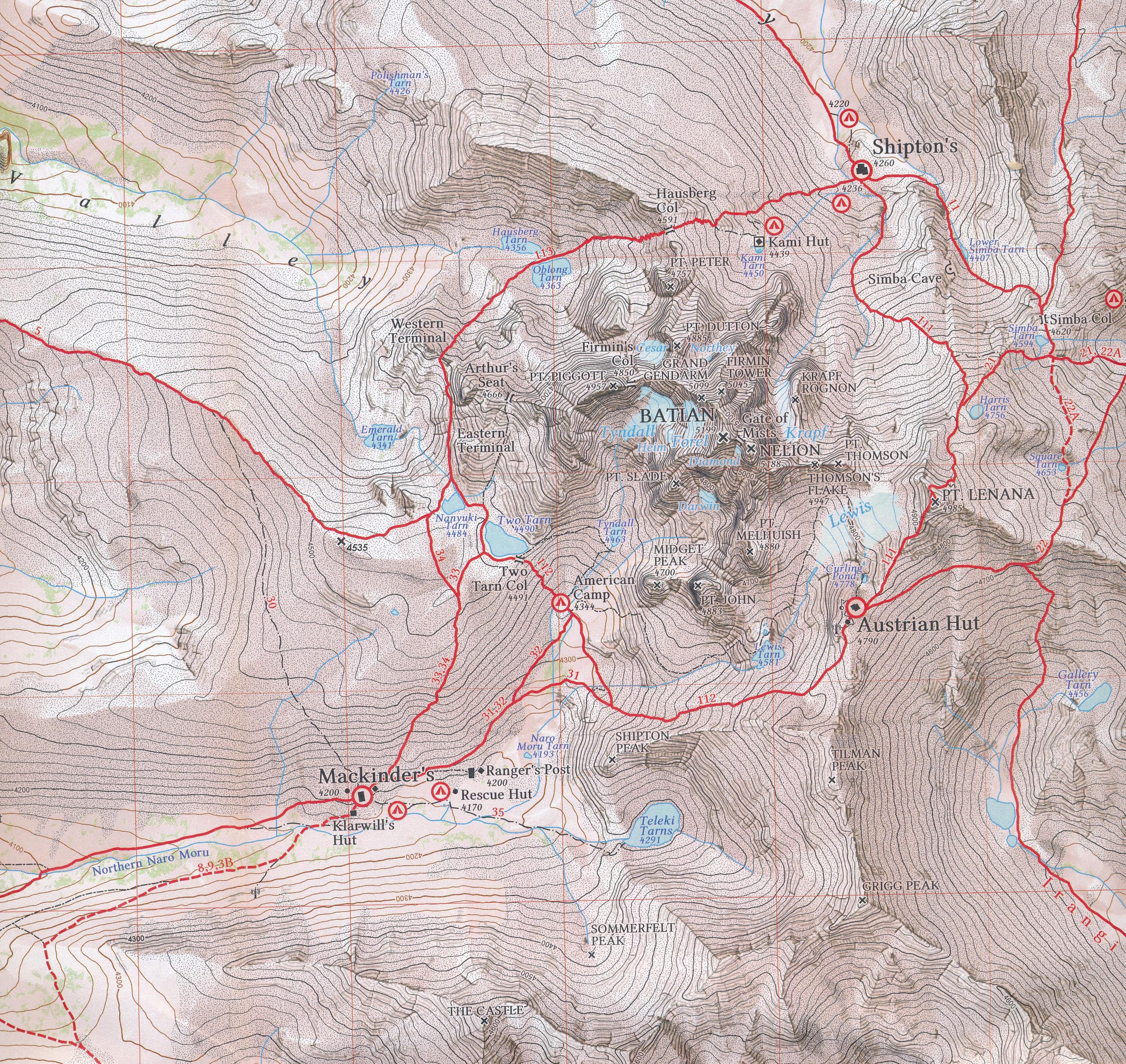 Mount Kenia Karte.Wandelkaart Topografische Kaart 0 16 Mount Kenya Alpenverein