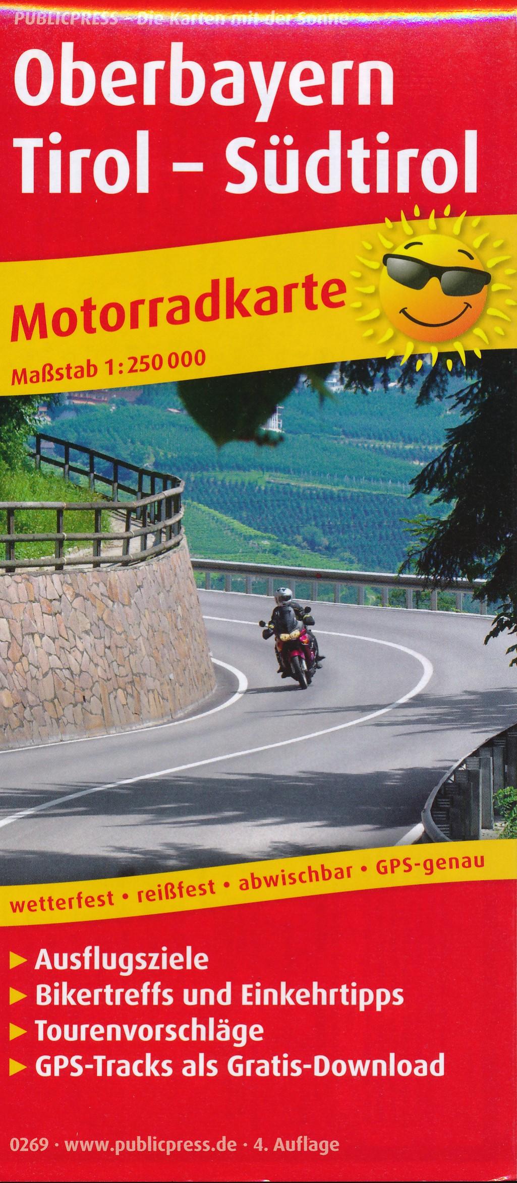 Wegenkaart - landkaart 269 Motorkarte Oberbayern - Tirol - Südtirol | Publicpress