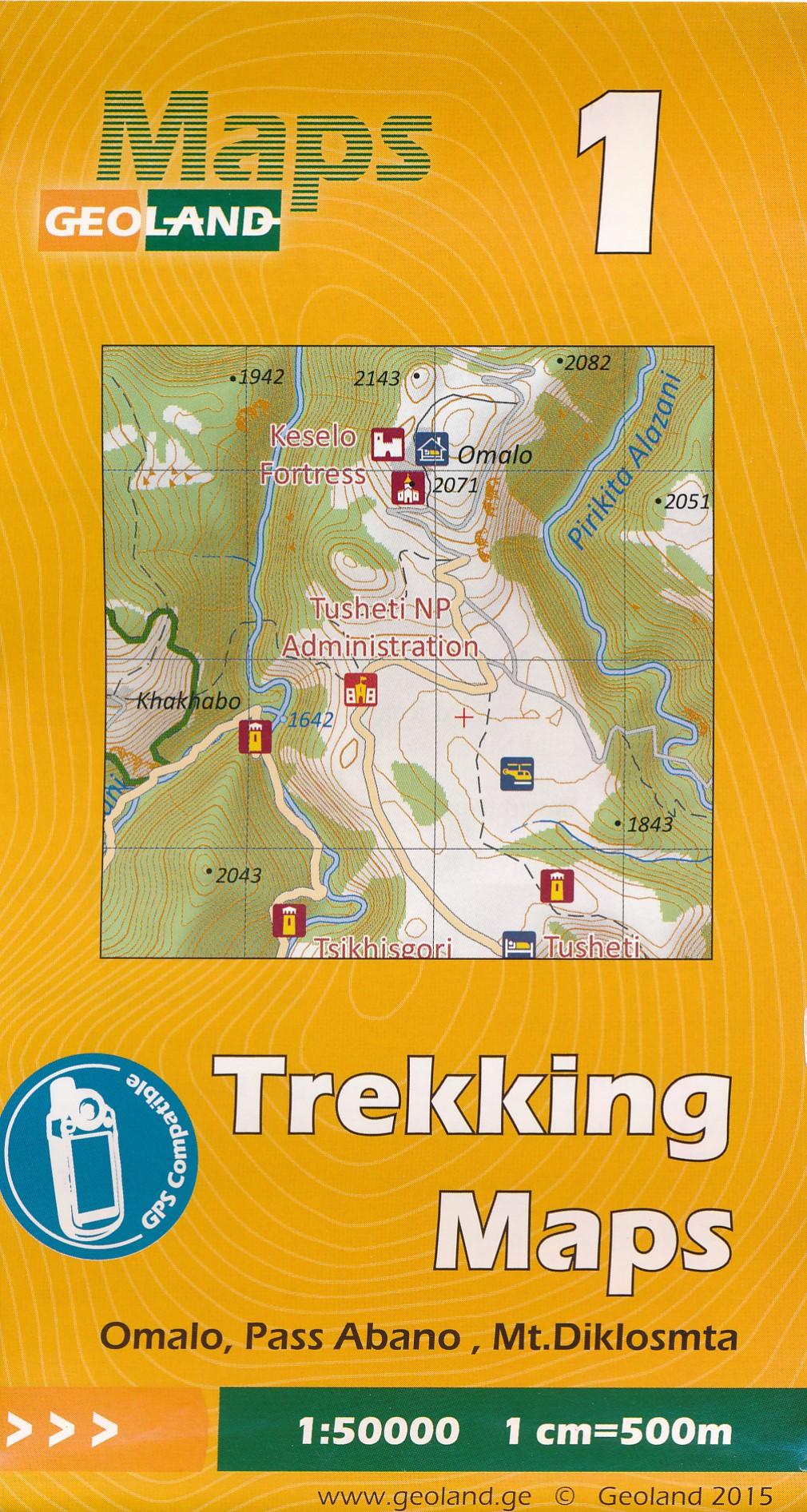 Wandelkaart - Topografische kaart 01 Omalo - Pass Abano - Mt. Diklosmta | Geoland