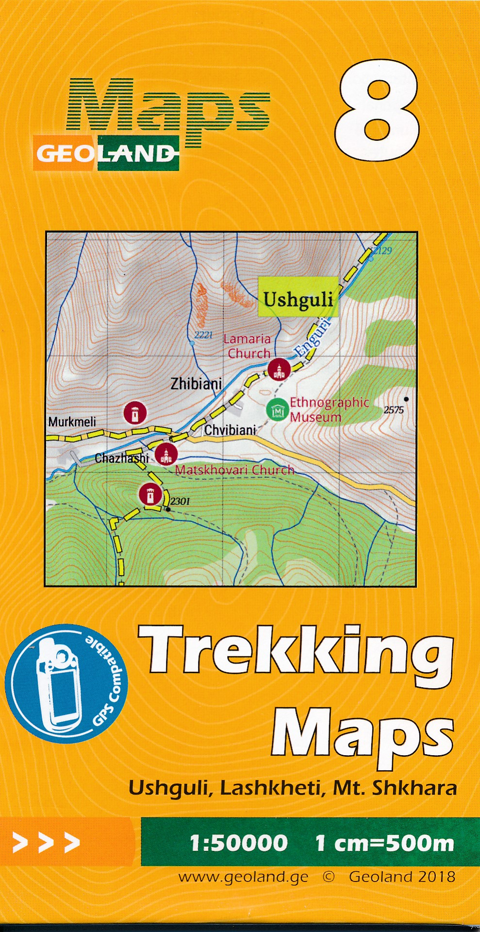 Wandelkaart - Topografische kaart 08 Ushguli - Lashkheti - Mt. Shkhara | Geoland