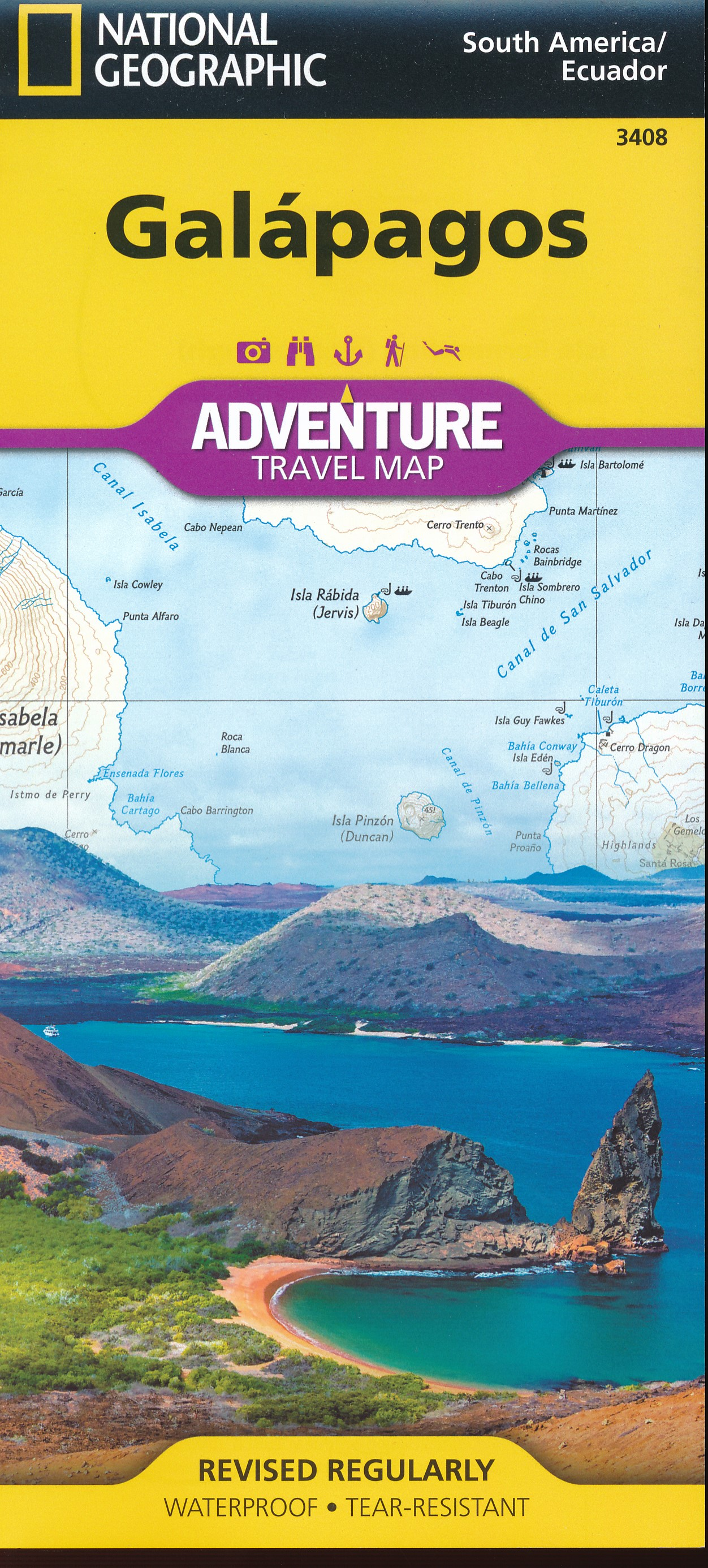 Wegenkaart - landkaart 3408 Adventure Map Galapagos eilanden | National Geographic