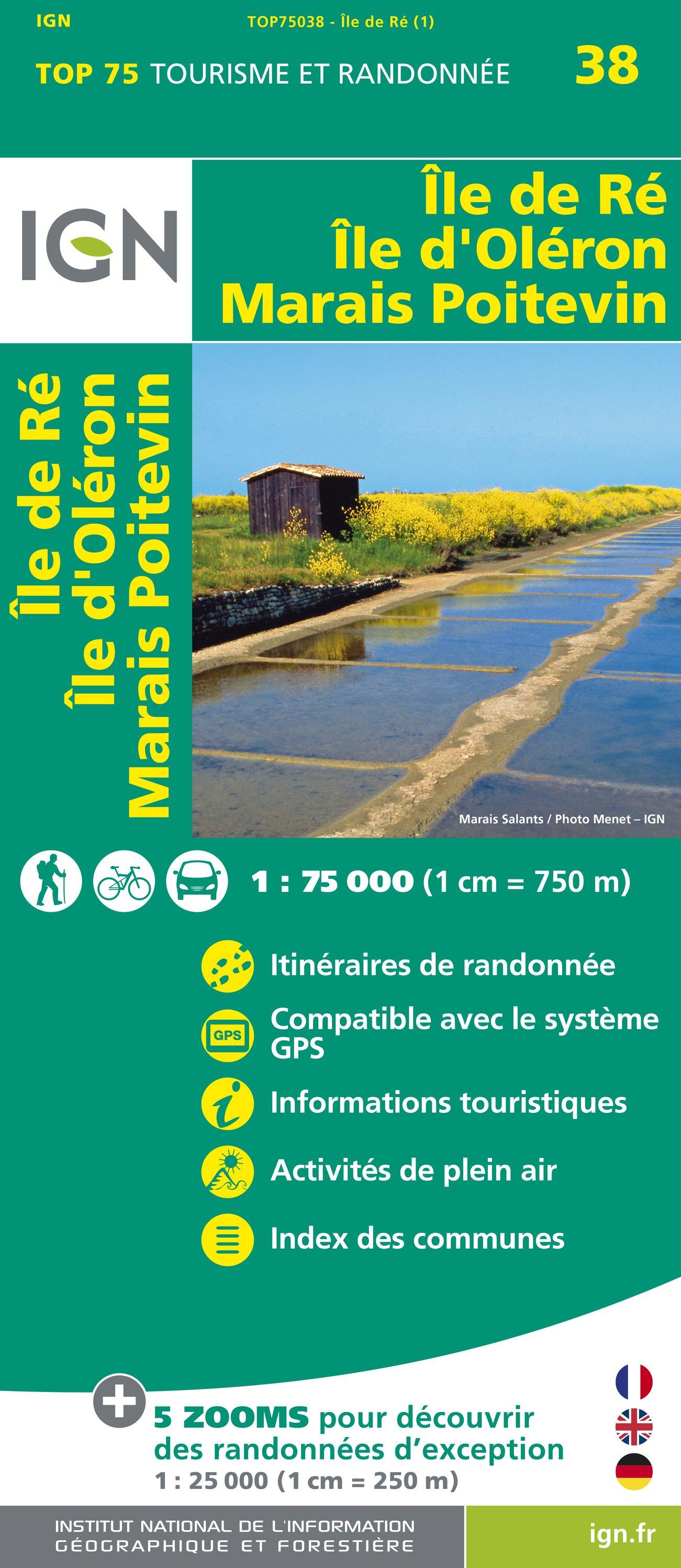 Wandelkaart - Fietskaart 38 Île de Ré, Île d'Oléron, Marais Poitevin | IGN
