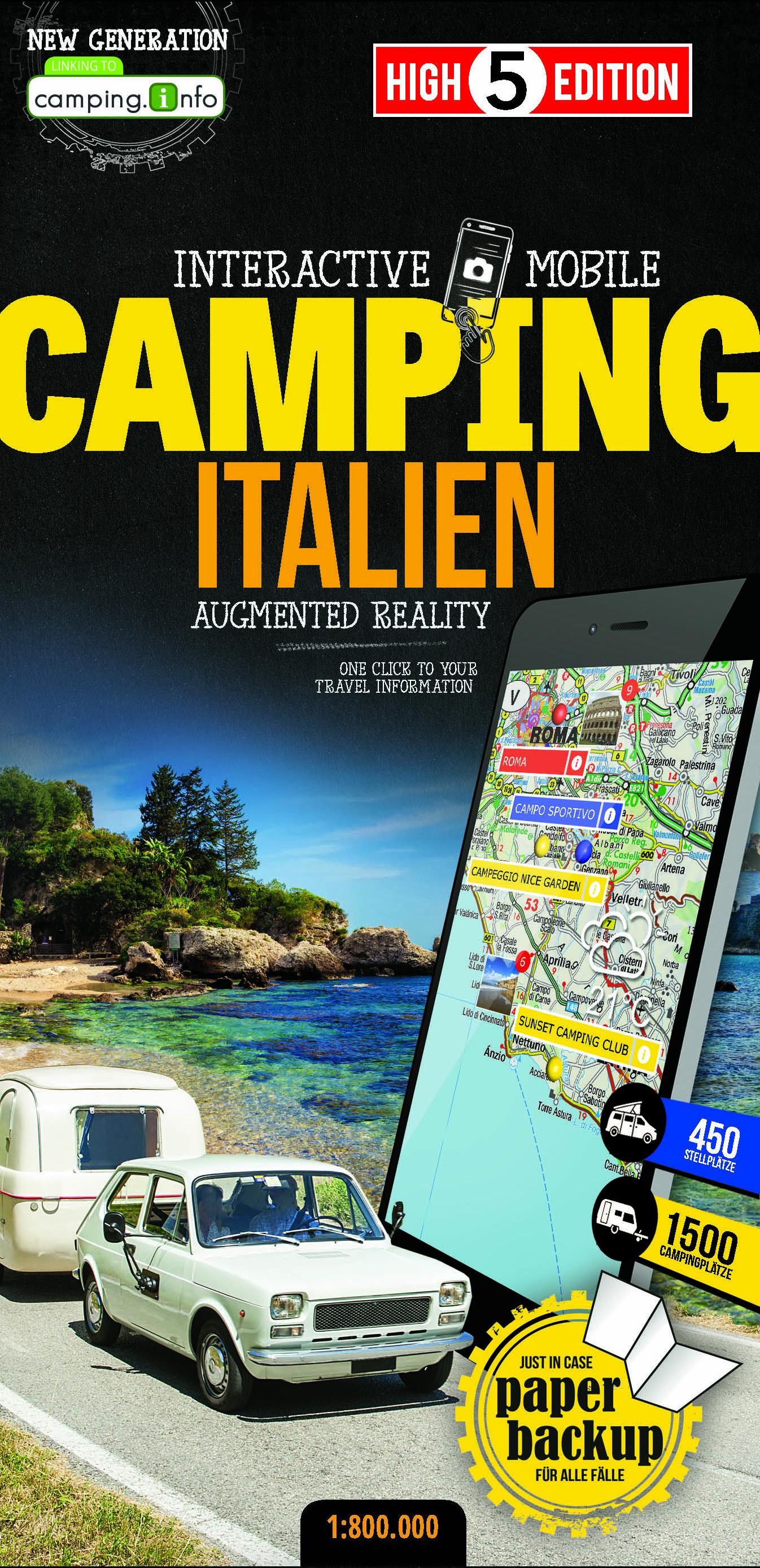 Online bestellen: Camperkaart - Wegenkaart - landkaart Italien - Italië | High 5 Edition