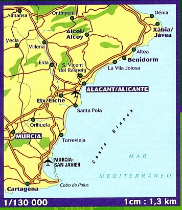 Wegenkaart Landkaart 123 Costa Blanca Michelin 9782067217904