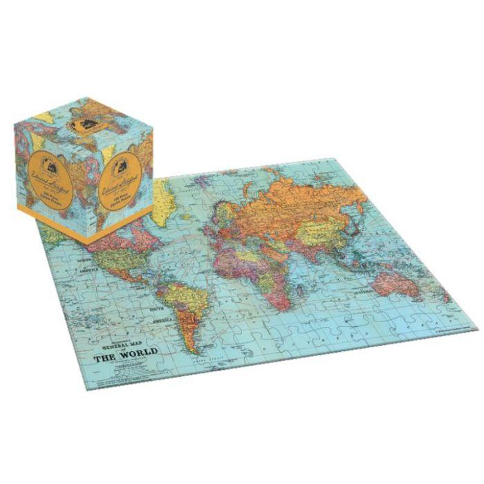 Kubus wereldkaart puzzel voor kinderen (100 stukjes) cover