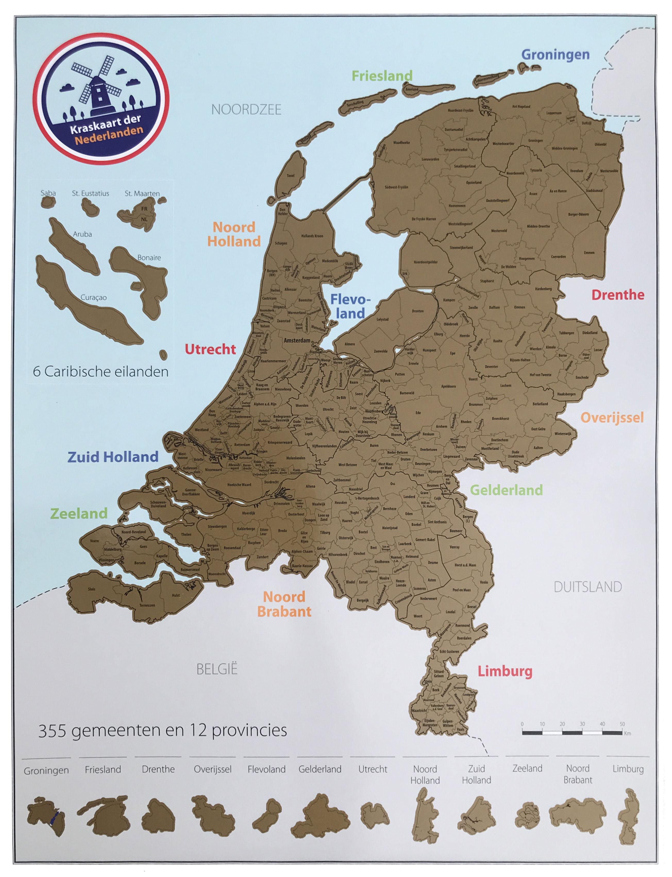 Scratch Map Nederland - kraskaart der Nederlanden | Bubble Up