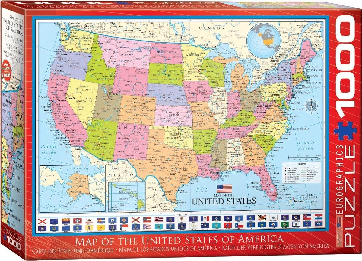 Legpuzzel Map of the USA - United Strates of America - Verenigde Staten | Eurographics de zwerver