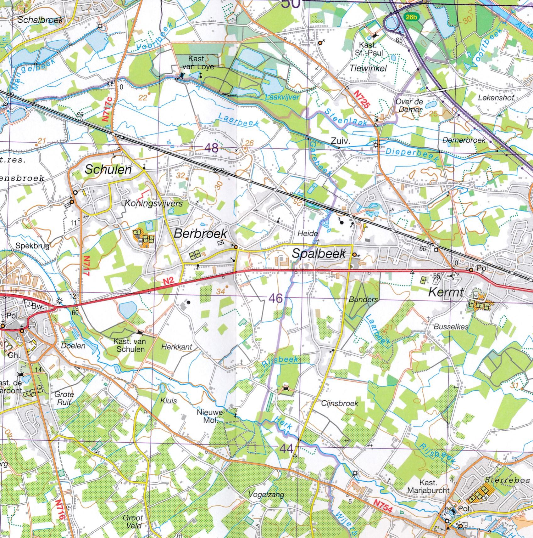 Topografische Kaart Wandelkaart 25 Topo50 Hasselt Ngi