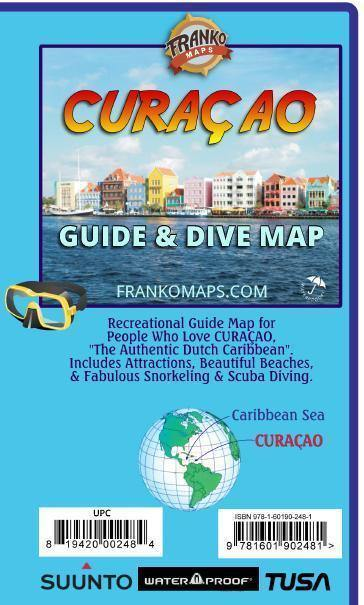 Waterkaart Curaçao Guide & Dive Map   Franko Maps
