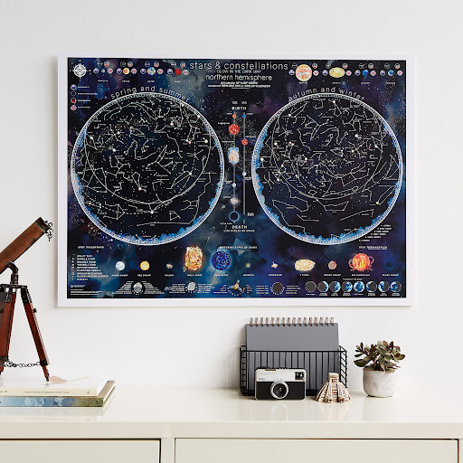 Poster - Wandkaart Stars & constellations glow in the dark 84.1 x 59.4 cm | Maps International de zwerver
