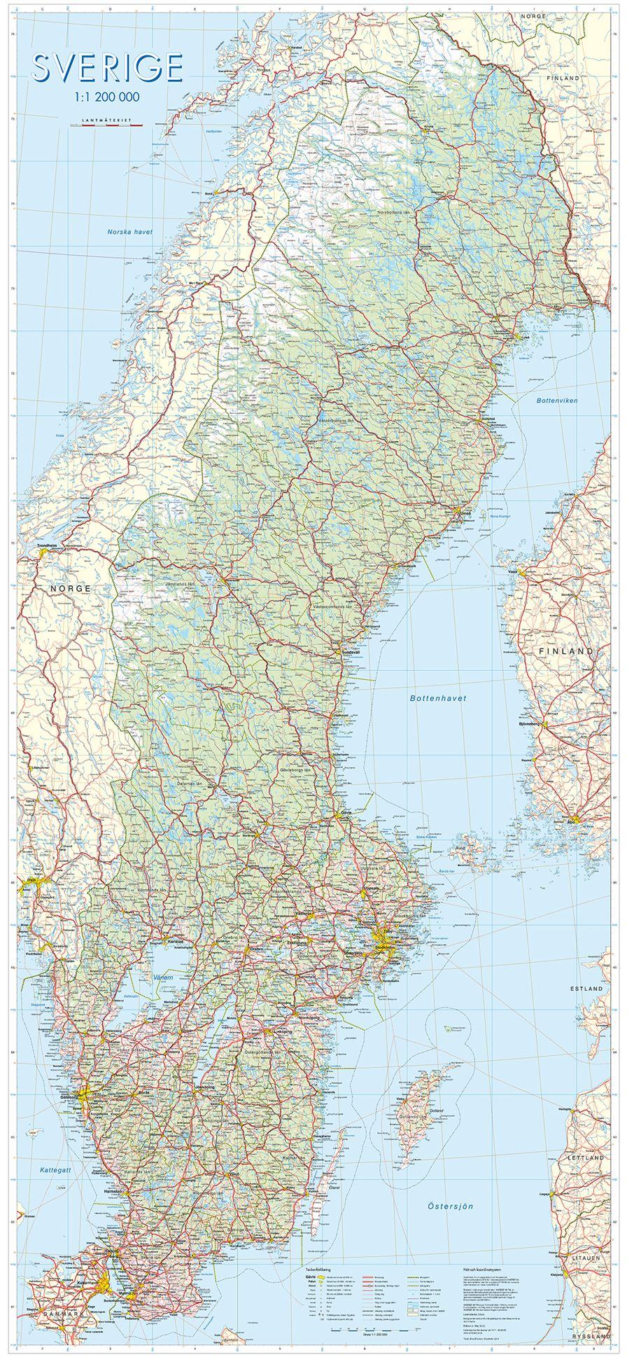 Wandkaart Zweden 55 x 133 cm | Lantmäteriet de zwerver
