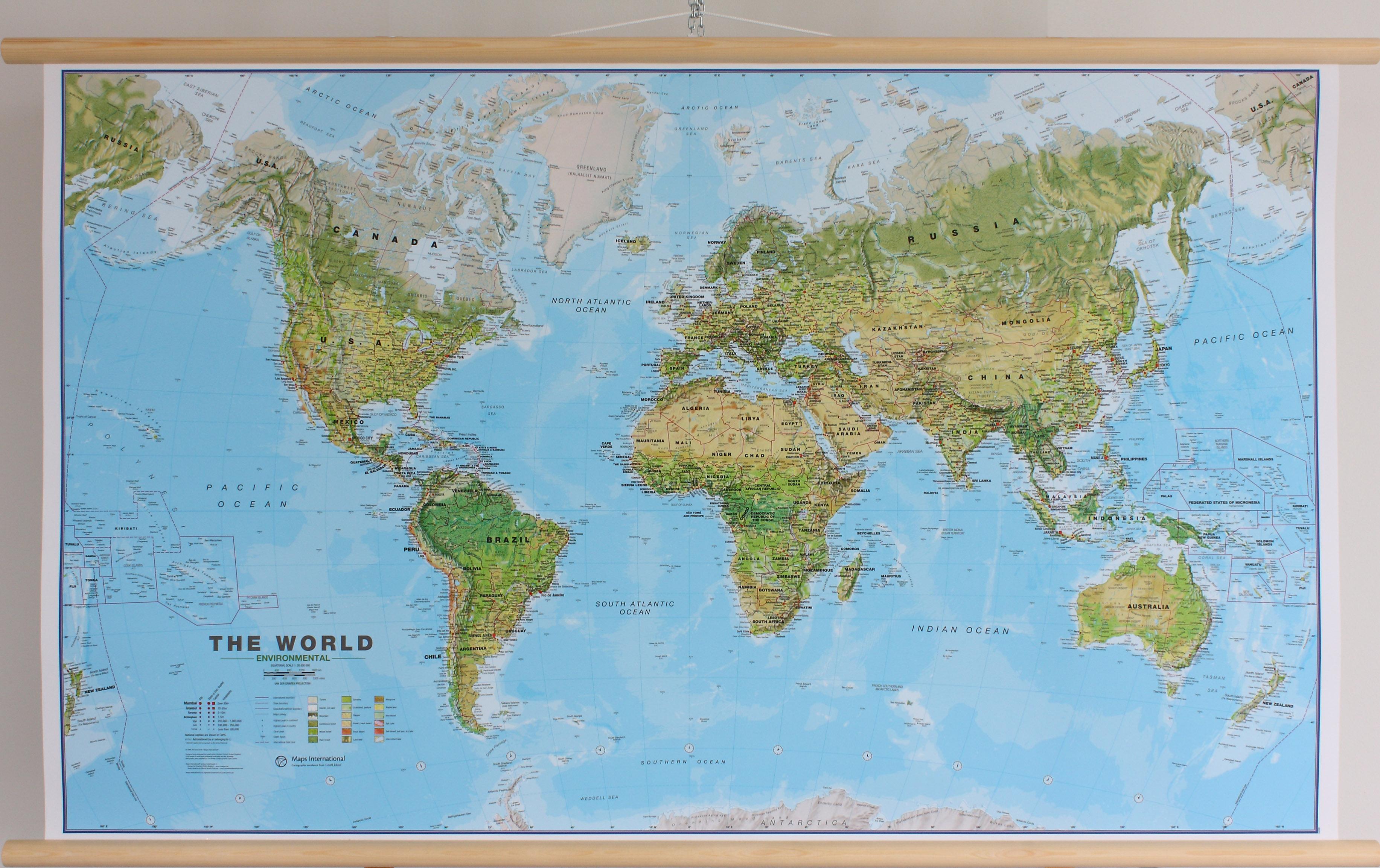 Wereldkaart Environmental, 136 x 84 cm | Maps International de zwerver