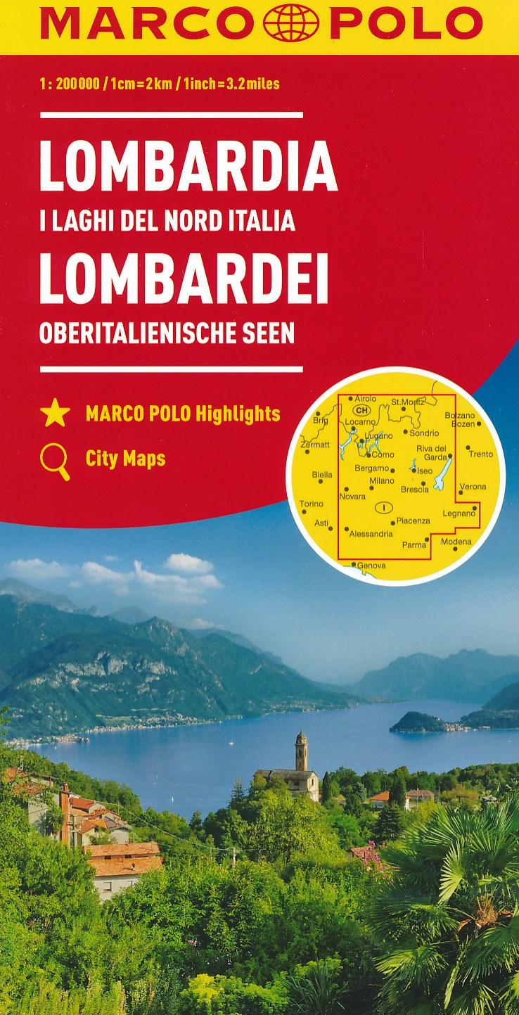 Wegenkaart - landkaart 02 Lombardei - Lombardije   Marco Polo de zwerver