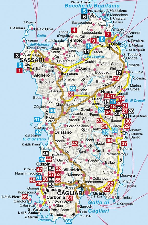 Kaart Sardinie Rogerlangfordart