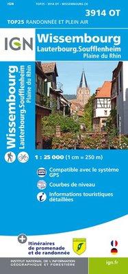 Wandelkaart - Topografische kaart 3914OT Wissembourg, Lauterbourg, Soufflenheim, Plaine du Rhin | IGN