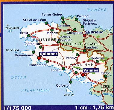 Wegenkaart Landkaart 308 Finistere Morbihan Bretagne