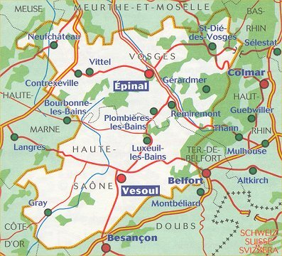 Wegenkaart Landkaart 314 Haute Saone Vosges Michelin