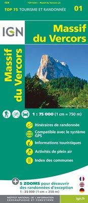 Fietskaart - Wandelkaart 01 Massif du Vercors | IGN