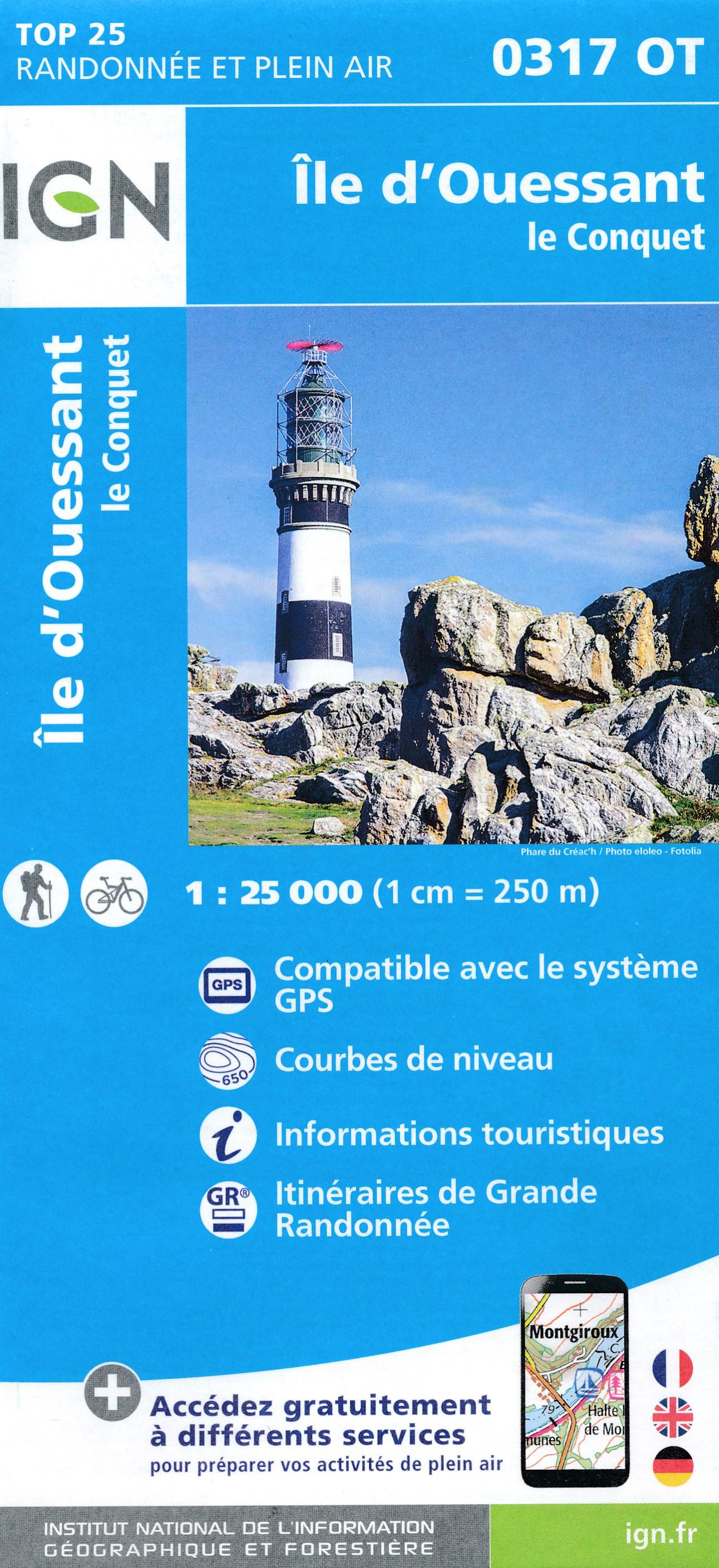 Wandelkaart - Topografische kaart 0317OT Île d'Ouessant, Le Conquet | IGN