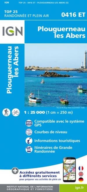 Wandelkaart - Topografische kaart 0416ET Plouguerneau, Les Abers, Plabennec, Ploudalmezeau | IGN